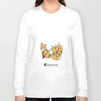 kitsune Long Sleeve T-shirts featuring Kitsune by James Courtney-Prior