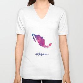 Mapa de México en Acuarela Unisex V-Neck