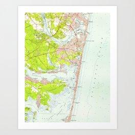 Vintage Map of Point Pleasant NJ (1953) Art Print