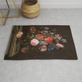 "Adriaen van der Spelt ""Still life of flowers on a stone ledge"" Rug"