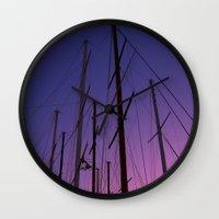 sailing Wall Clocks featuring sailing by gzm_guvenc