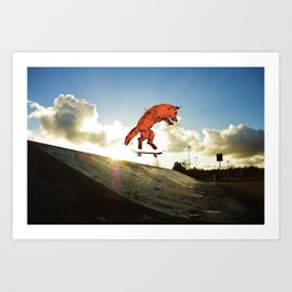 Skateboard FOX! Art Print