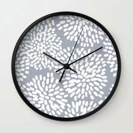 Grey and White Abstract Firework Flowers Wall Clock