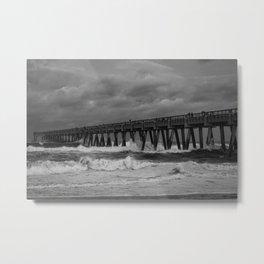 Waves Crashing Against Navarre Pier Metal Print