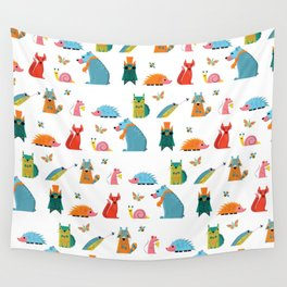 Scandinavian woodland animals pattern print Wall Tapestry