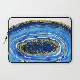 Cobalt blue and gold geode in watercolor Laptop Sleeve