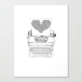 Typewriter Love Canvas Print