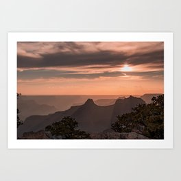 North_Rim Grand_Canyon Silhouette Sunset Art Print