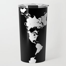 Dymaxion World Map (Fuller Projection Map) - Minimalist White on Black Travel Mug