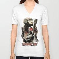 robocop V-neck T-shirts featuring Robocop Girl - Desafío52 by Marcos Raya Delgado
