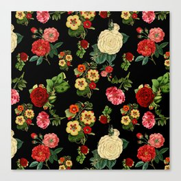 Black and red Vintage roses Canvas Print