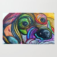the hound Area & Throw Rugs featuring Hound Dog by EloiseArt