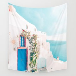 Santorini Greece Cozy blush travel photography in hd. Wall Tapestry