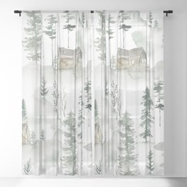 Winter scene houses and trees pattern Sheer Curtain
