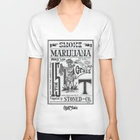 marijuana V-neck T-shirts featuring SMOKE MARIJUANA by NIGHTJUNKIE