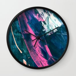 Wild [4]: a bold, vibrant abstract minimal piece in teal and neon pink Wall Clock
