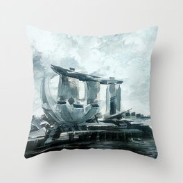 Singapore Skyline Throw Pillow
