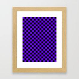 Black and Indigo Violet Checkerboard Framed Art Print