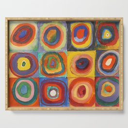 COLOR STUDY, SQUARES WITH CONCENTRIC CIRCLES - WASSILY KANDINSKY Serving Tray