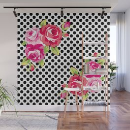 Roses on black dots Wall Mural