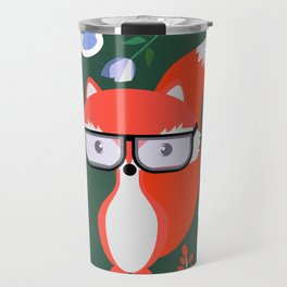 Fox with glasses and flowers Travel Mug