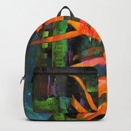 Electric Floral Burst in Tangerine Backpack