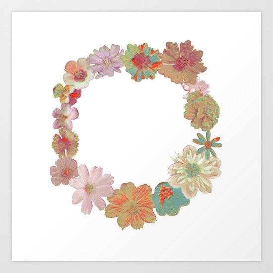Halftone Flower Ring Art Print