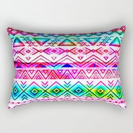 Tribal designed bohemian pattern with pink, green and turquoise palette Rectangular Pillow