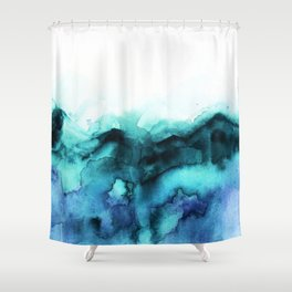 Abstract teal purple watercolor Shower Curtain