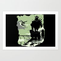 shadow of the colossus Art Prints featuring Silhouette of the Colossus by Piercek25