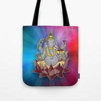 ganesh Tote Bags featuring Ganesh by Street But Elegant