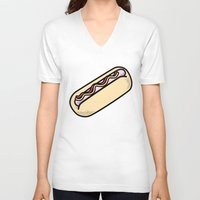 hot dog V-neck T-shirts featuring Hot Dog by Tees & Thanks