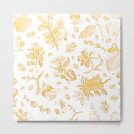 Botanicals - Gold and White Metal Print