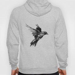 Flying Raven. tribal raven lover black and white raven decor Hoody
