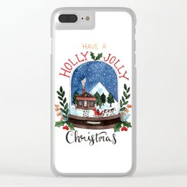 Holly Jolly Christmas Clear iPhone Case
