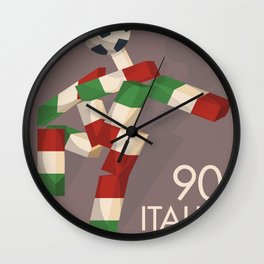 Vintage football poster, Ciao, Italia 90 mascotte, retro football, 1990 world cup Wall Clock