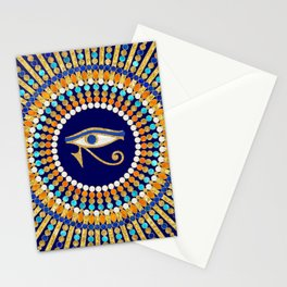 Eye of Thoth with Mandala Inspired By Ancient Egyptian Necklace (lapis lazuli blue) background) Stationery Cards