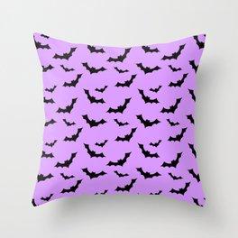 Black Bat Pattern on Purple Throw Pillow