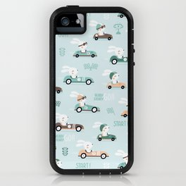 Bunny Race - retro racing pattern iPhone Case