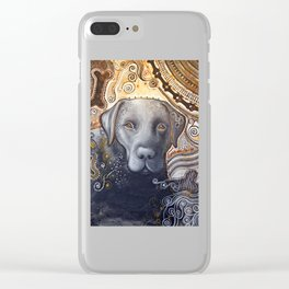 Rudy ... Original Abstract dog art painting, Black Labrador Clear iPhone Case