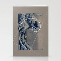 fibonacci Stationery Cards featuring Hokusai Meets Fibonacci by Vi Sion