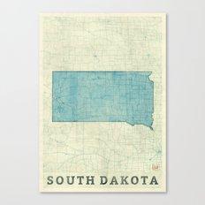 South Dakota State Map Blue Vintage Canvas Print