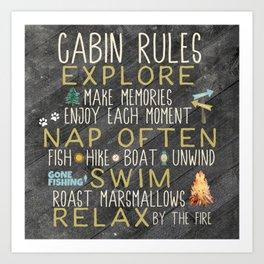 Cabin Rules | Home Decor | Cabin Decor Ideas | Cabin Decor Art Print