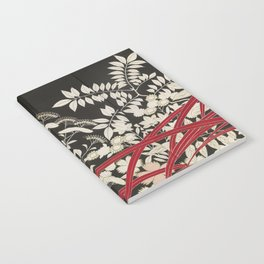 Kuro-tomesode with a Pair of Pheasants in Hiding (Japan, untouched kimono detail) Notebook