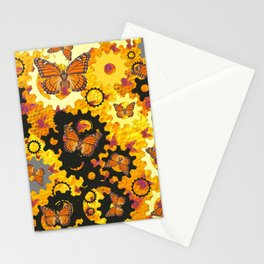 MONARCH BUTTERFLIES & GOLDEN WATCH GEARS ABSTRACT  Stationery Cards