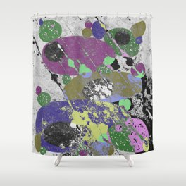Stack Em Up! - Abstract, textured, pastel coloured artwork Shower Curtain