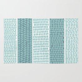 Blue & White Gouache Pattern Rug