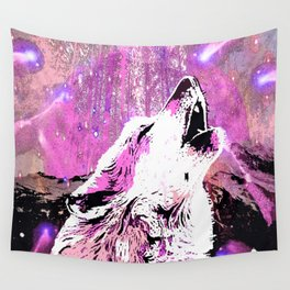 WOLF PINK MOON SHOOTING STARS Wall Tapestry