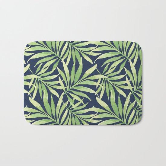 Tropical Branches on Dark Pattern 10 Bath Mat