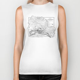 Vintage Map of Richmond Virginia (1884) BW Biker Tank